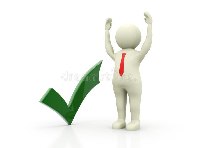 Marca de verificación verde con el hombre de negocios en el fondo blanco 3d rinden stock de ilustración