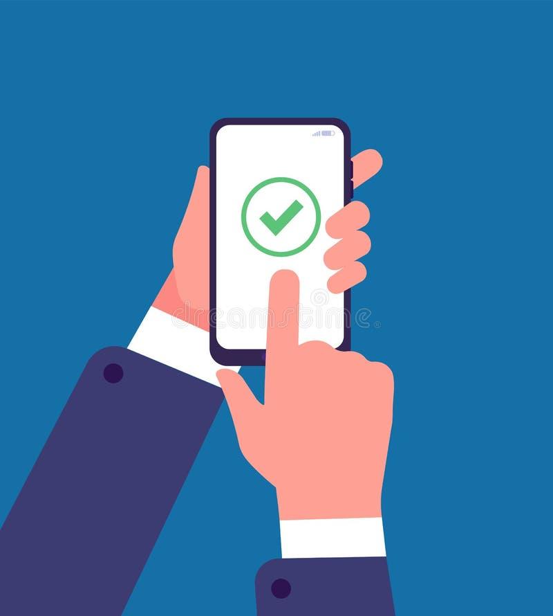 Marca de verificación verde en la pantalla del smartphone Encuesta en línea, aplicación web del cuestionario Concepto del vector  stock de ilustración