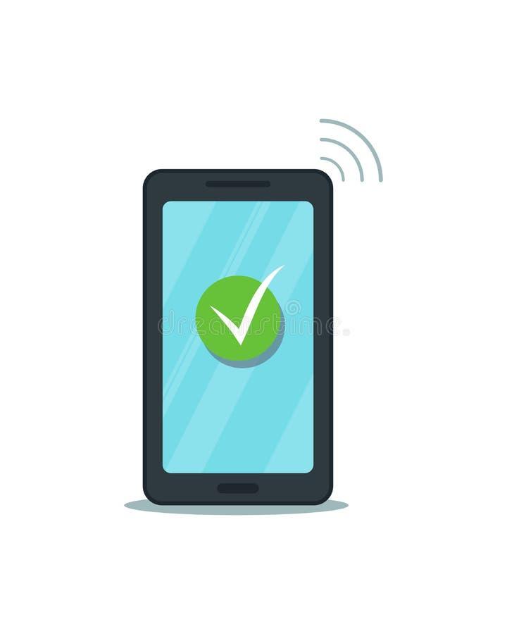 Marca de verificación verde en la pantalla táctil del smartphone Teléfono móvil plano con el icono aprobado aislado, fondo blanco ilustración del vector