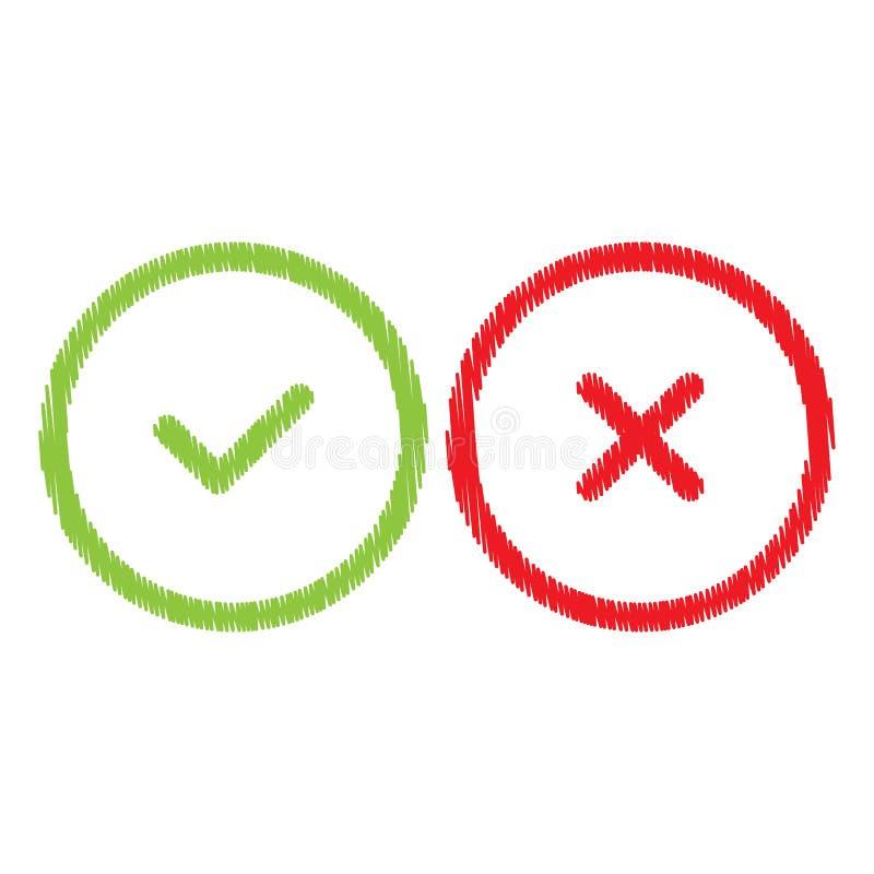 Marca direita e errada do vetor de verifica??o ilustração royalty free
