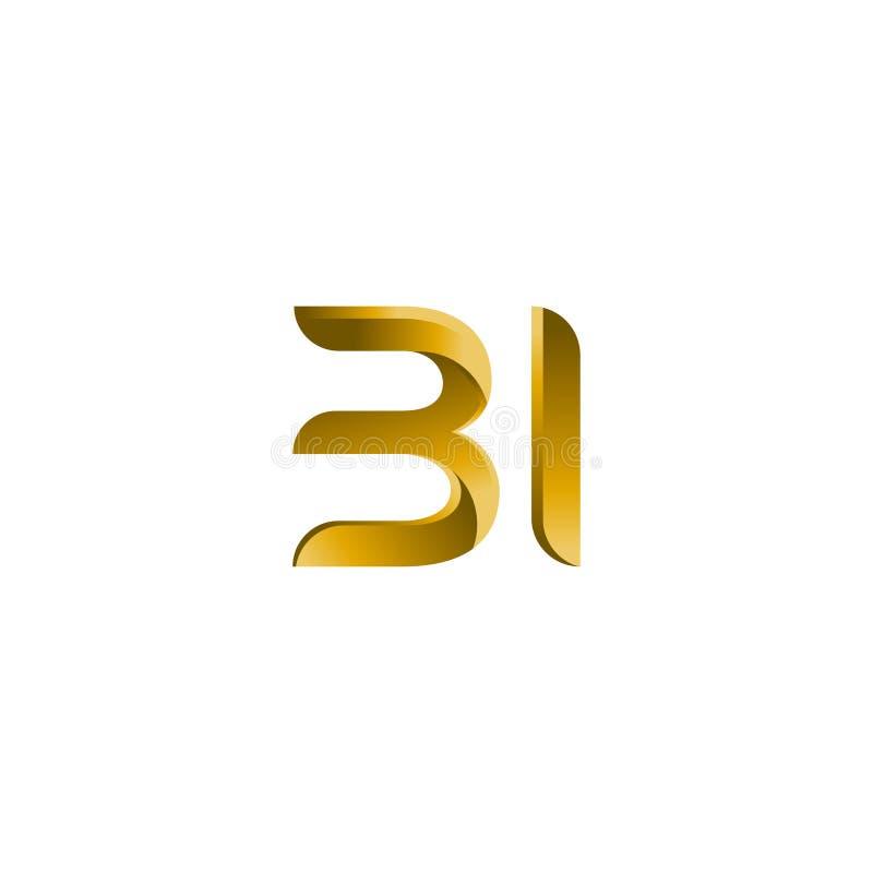 Marca do vetor da inicial do logotipo do BI da letra O BI, B e eu rotulam o vetor abstrato Logo Design Template Ícone tipográfico ilustração royalty free