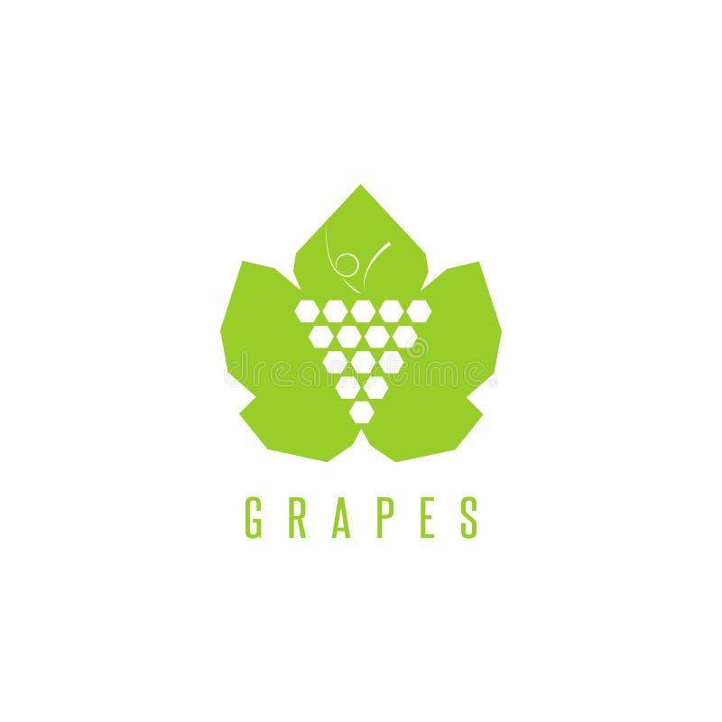 Marca do winemaking do logotipo das uvas, grupo de uvas em um elemento verde do projeto do modelo da folha para o emblema do vinh ilustração do vetor