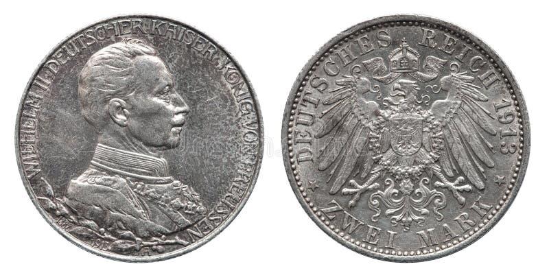 Marca dois 1913 prussiano da moeda de prata 2 de Prússia alemão de Alemanha foto de stock royalty free