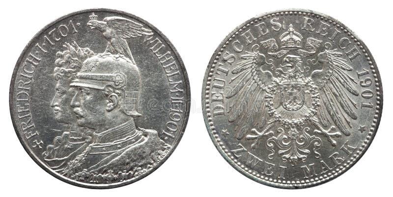 Marca dois 1901, 200th aniversário prussiano da moeda de prata 2 de Prússia alemão de Alemanha da dinastia foto de stock