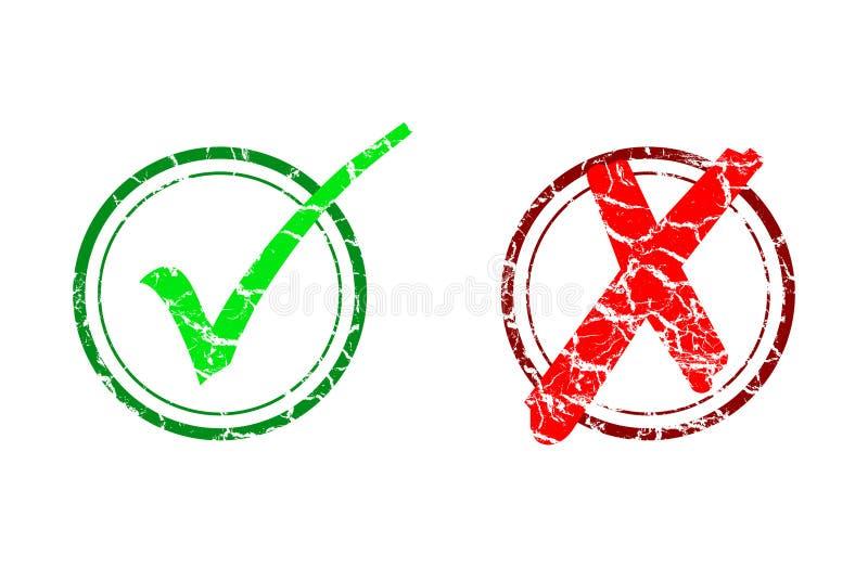 Marca e cancelamento de verificação ilustração do vetor