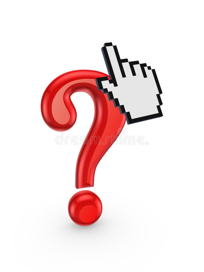 Marca e cursor vermelhos da pergunta. ilustração royalty free