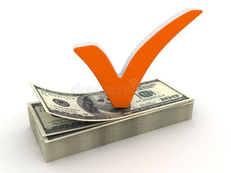 Marca e dólar de verificação ilustração do vetor