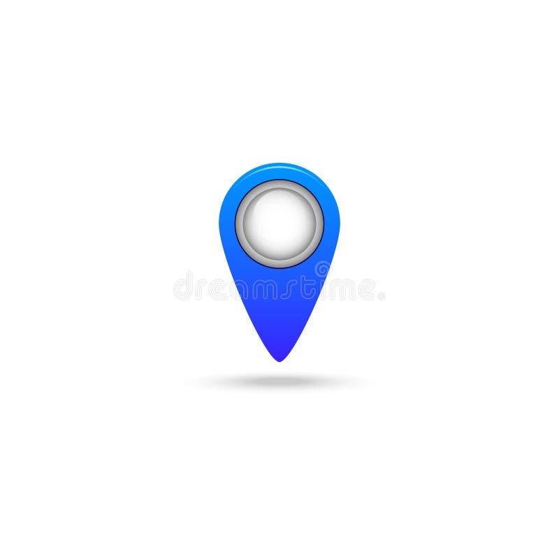 Marca en el icono del mapa aislado en el fondo blanco stock de ilustración