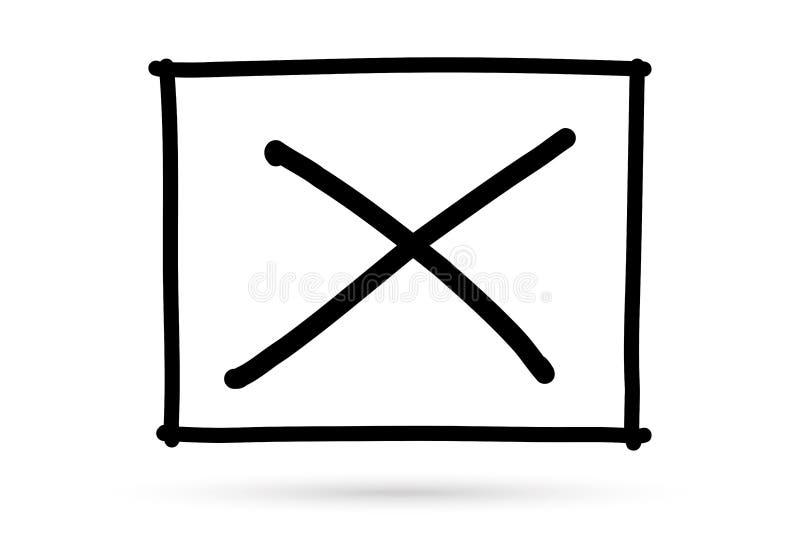 Marca errada do s?mbolo x popular da lista de verifica??o isolada ilustração do vetor