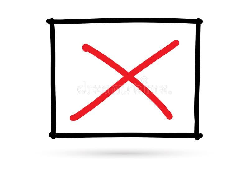 Marca errada do s?mbolo x popular da lista de verifica??o isolada ilustração stock