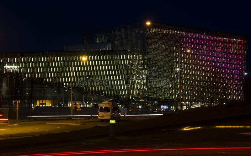19 marca 2014 r. - Reykjavik, Islandia Typowy pejzaż nocny w Rejkiawiku zdjęcia stock