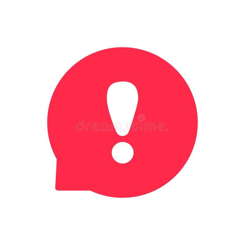 Marca redonda importante de la burbuja del discurso de la advertencia del logotipo de la atención del icono del vector de la excl stock de ilustración