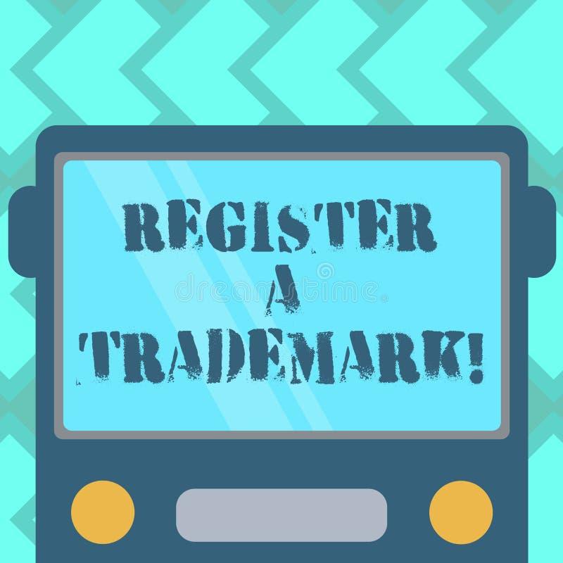 Marca registrada do registro A da exibição do sinal do texto Foto conceptual ao registro ou à lista como o tipo oficial da empres ilustração do vetor