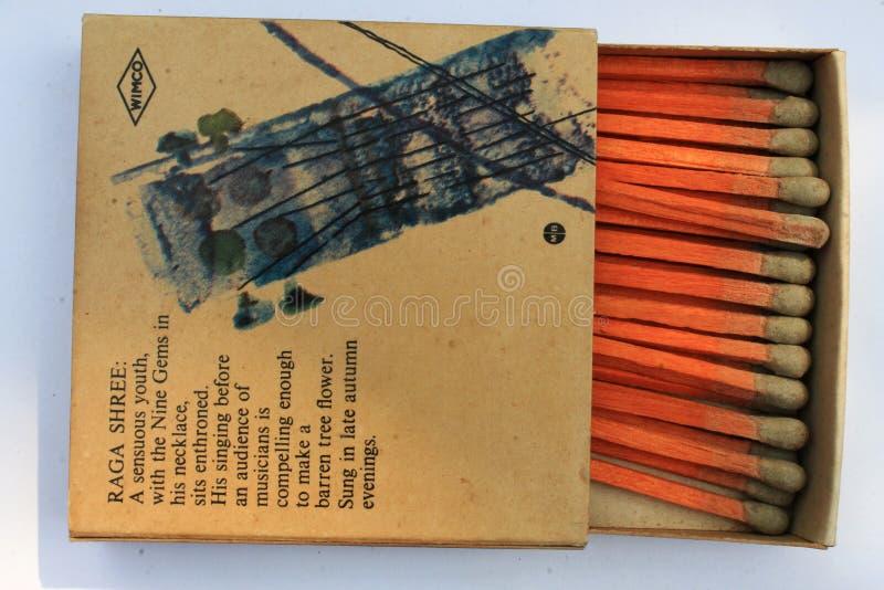 Marca su misura molto rara d'annata della scatola di fiammiferi WIMCO di sicurezza 1970 del vecchio oggetto d'antiquariato indian fotografia stock