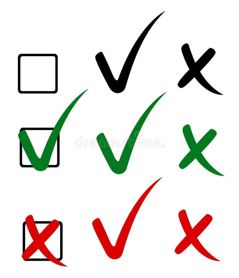 Marca, tiquetaque e cruz de verificação ilustração royalty free