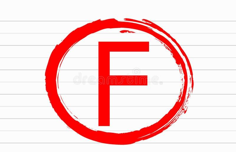 Marca vermelha da letra da categoria do resultado do exame de F no Livro Branco ilustração royalty free