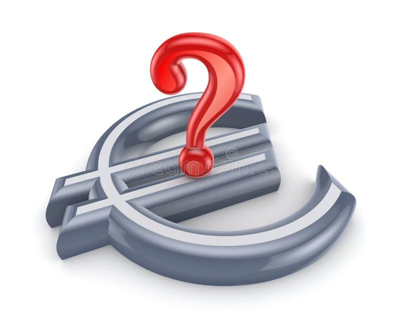 Marca vermelha da pergunta em um sinal do euro. ilustração stock