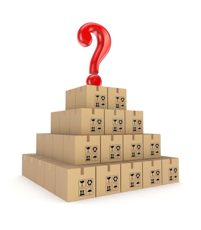 Marca vermelha da pergunta em uma pirâmide feita de caixas da caixa. ilustração stock
