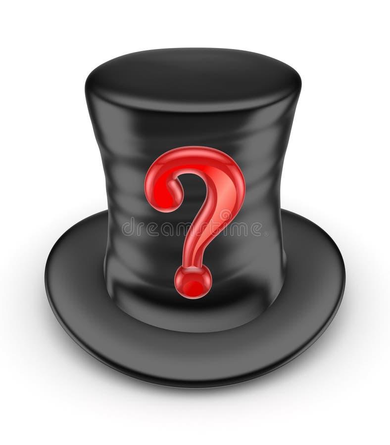 Marca vermelha da pergunta no parte-chapéu preto. ilustração stock