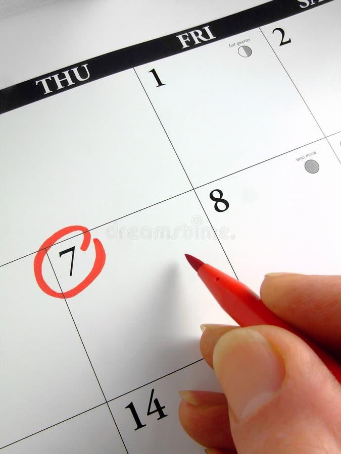 Marcado del calendario imagenes de archivo