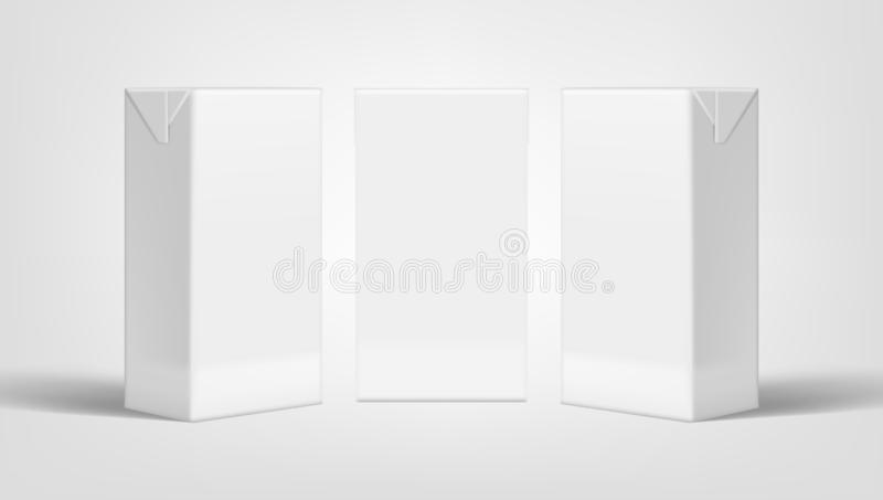 Marcado en caliente cercano realista de la leche o de Juice Clear White Packaging For del paquete ilustración del vector