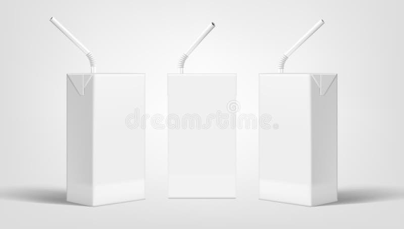Marcado en caliente realista de la leche o de Juice Clear White Packaging For del paquete ilustración del vector