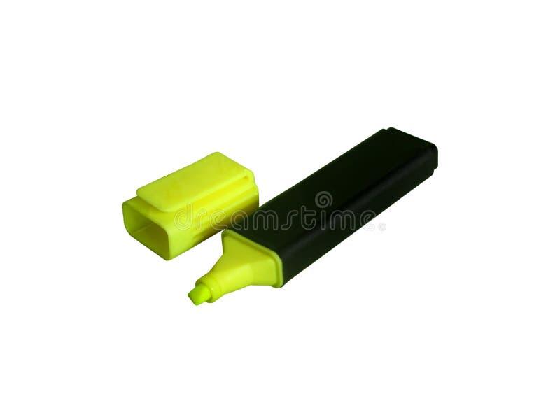 Marcador amarelo isolado no branco foto de stock royalty free