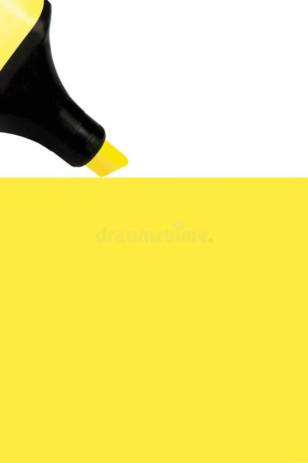 Marcador amarelo que pinta o grande fundo, close up macro isolado, grande espaço vertical detalhado da cópia ilustração royalty free
