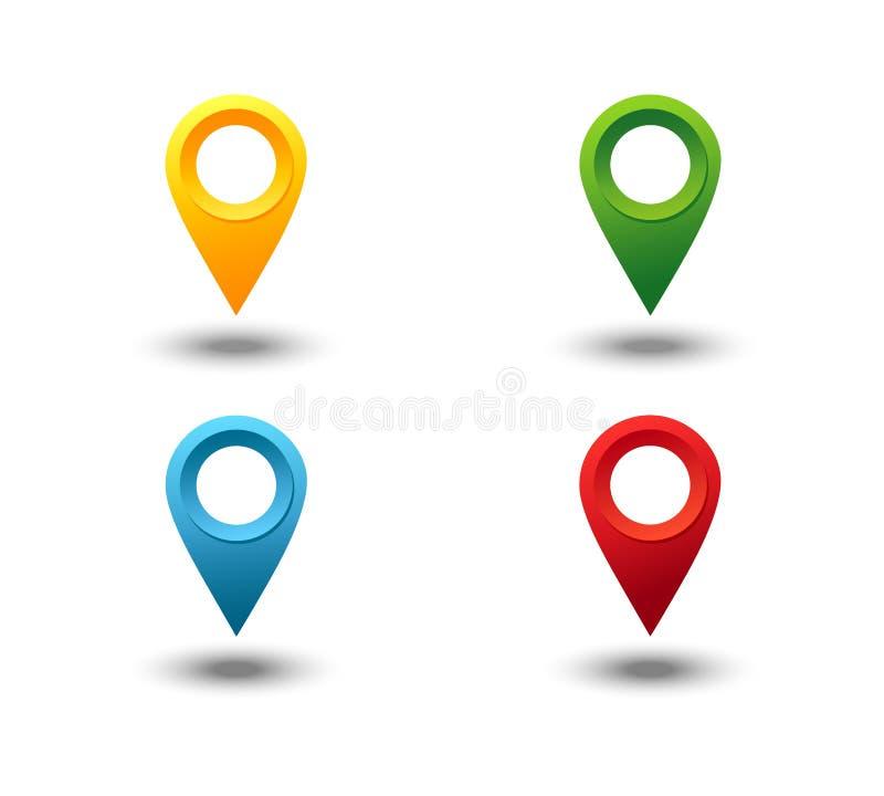 Marcador 3D Grupo do vetor do pino do ponteiro do mapa isolado no fundo branco Ponto do lugar da Web, marca da seta do ponteiro 3 ilustração royalty free
