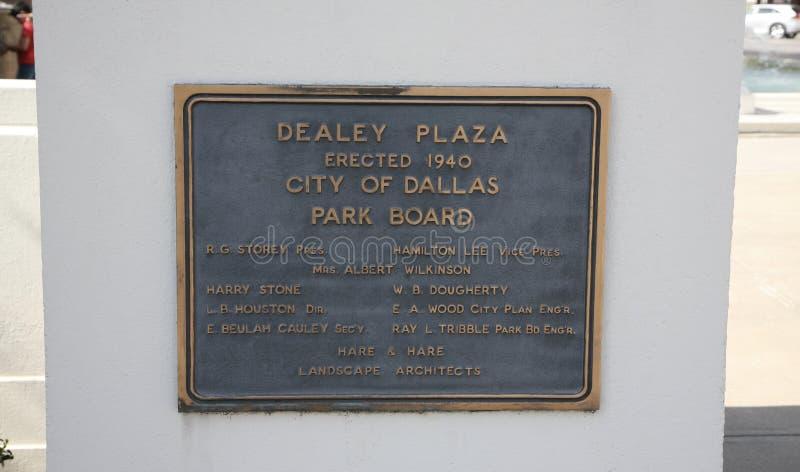 Marcador Dallas da plaza de Dealey, Texas fotografia de stock royalty free