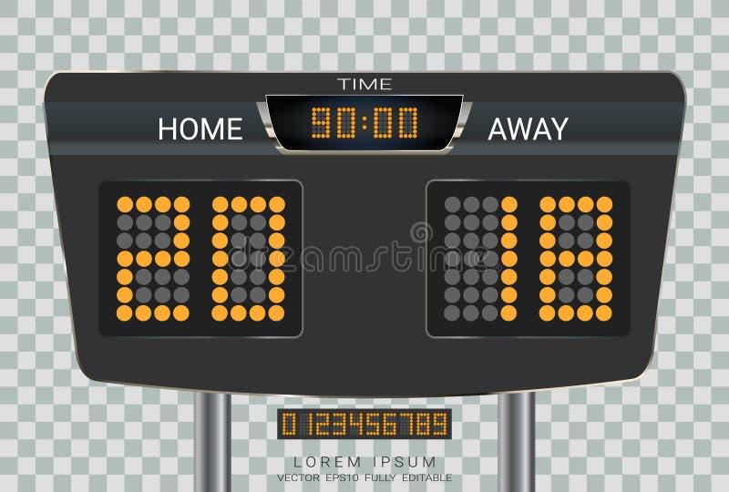 Marcador de la sincronización de Digitaces, equipo A del partido de fútbol contra el equipo B, plantilla del gráfico de la difusi ilustración del vector