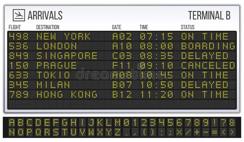 Marcador del aeropuerto Fuente del tablero de Digitaces LED, llegadas y ejemplo realista del vector de las muestras de las salida ilustración del vector