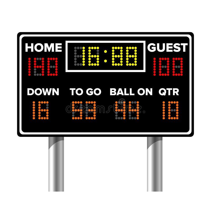 Marcador del fútbol americano Cuenta de juego del deporte Puntos de Digitaces LED Ilustración del vector libre illustration