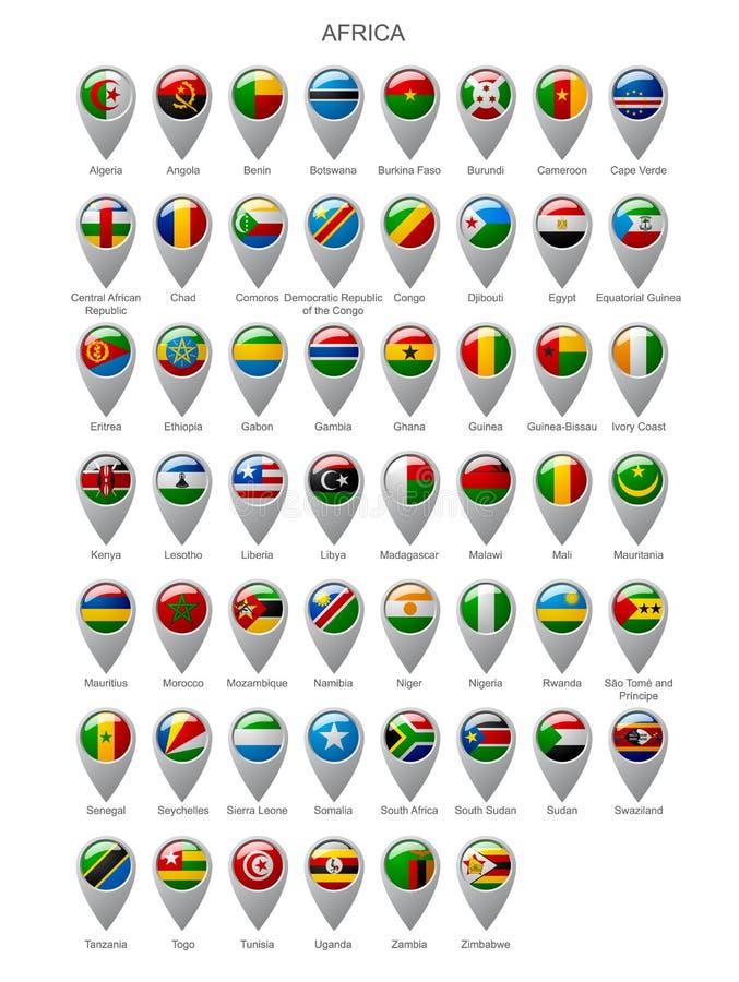 Marcador del mapa fijado con las banderas de África ilustración del vector