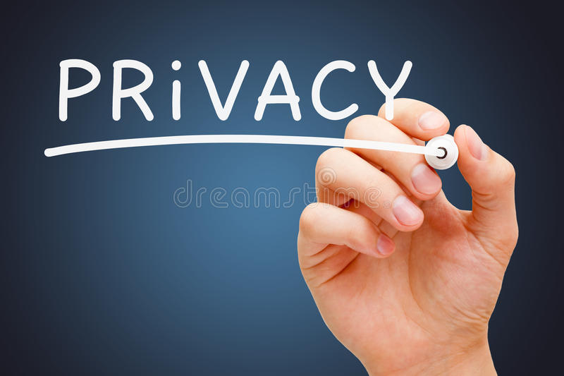 Marcador do branco da privacidade fotografia de stock royalty free