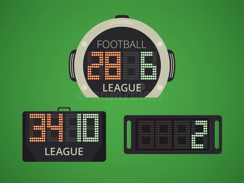Marcador electrónico del fútbol/del fútbol para el reemplazo del jugador El panel del tiempo extra ilustración del vector