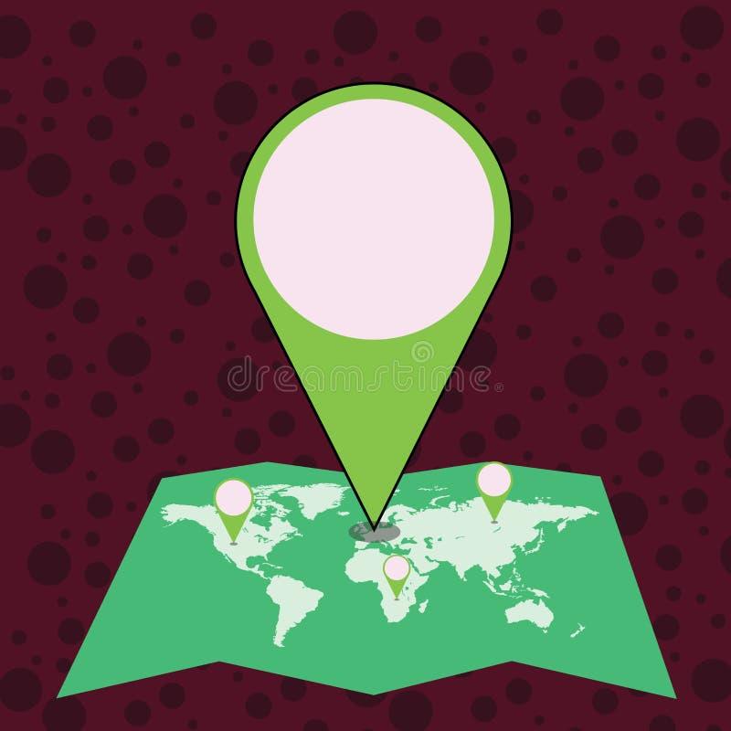 Marcador enorme colorido Pin Pointing do lugar a uma área ou endereço no mapa Ideia criativa do fundo para a entrega, transporte ilustração stock