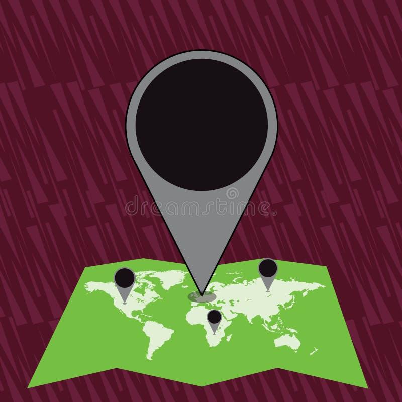 Marcador enorme colorido Pin Pointing do lugar a uma área ou endereço no mapa Ideia criativa do fundo para a entrega, transporte ilustração royalty free