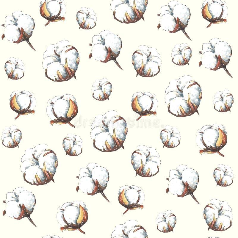 Marcador feito a mão teste padrão tirado do algodão no fundo bege ilustração stock