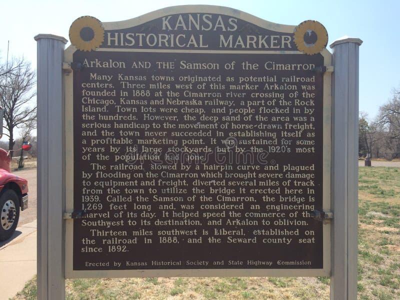 Marcador histórico de Kansas foto de archivo