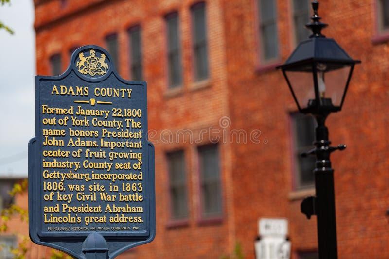 Marcador histórico del condado de Adams fotografía de archivo libre de regalías