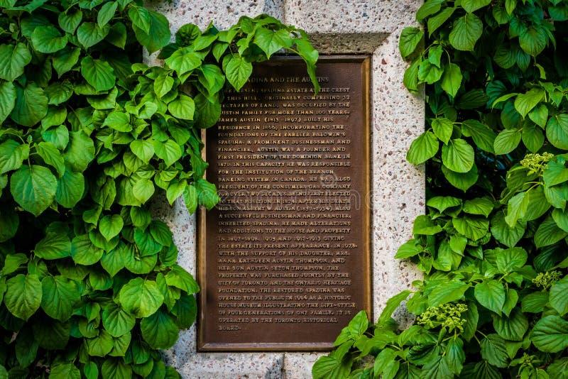 Marcador histórico en Baldwin Steps en el parque de Spadina, en Midtown imagen de archivo libre de regalías