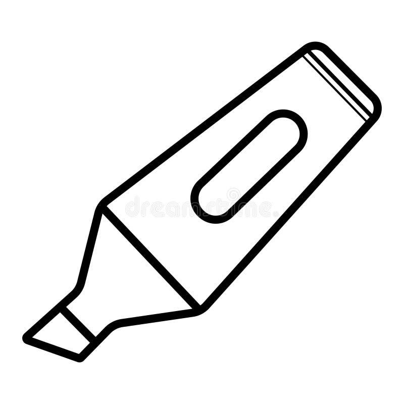 Marcador Pen Thin Line Vetora Icon Ícone liso isolado no whit ilustração royalty free