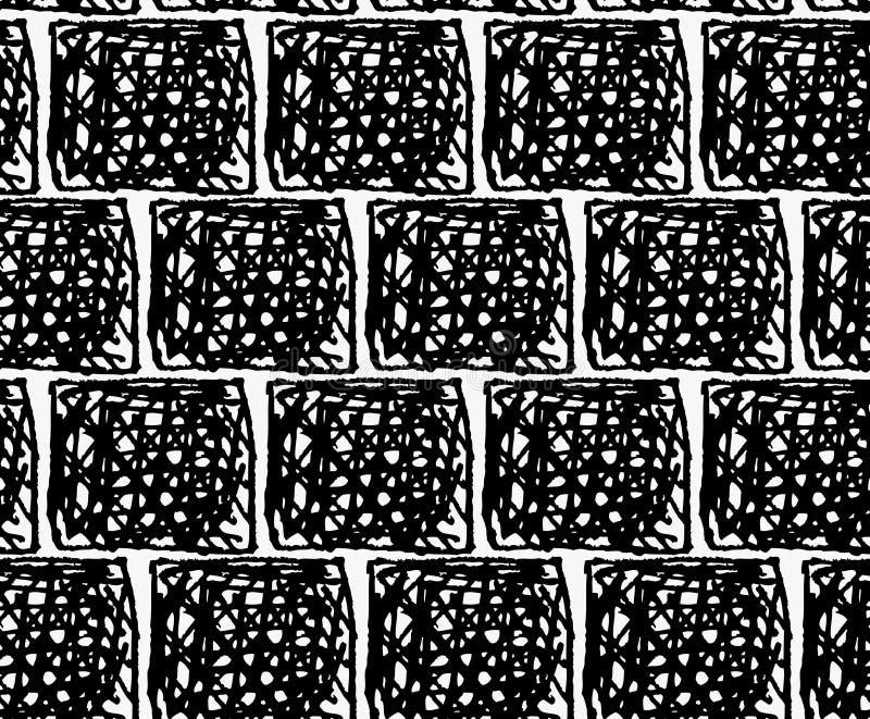 Marcador preto quadrados rabiscados ilustração stock