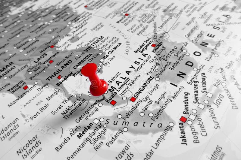 Marcador vermelho sobre Malásia imagens de stock royalty free