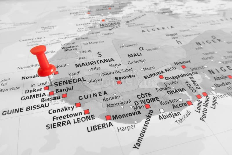 Marcador vermelho sobre Senegal foto de stock royalty free