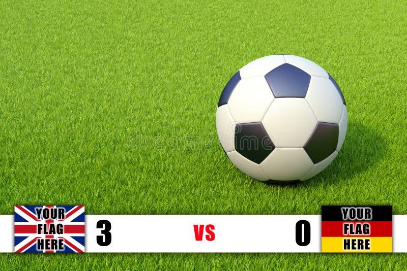Marcador y balón de fútbol en campo de hierba ilustración del vector