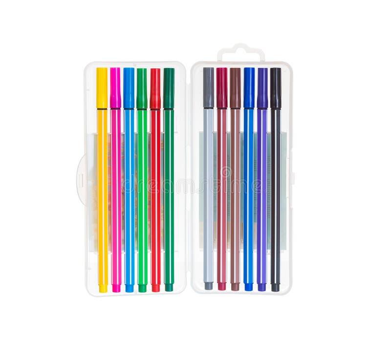 Marcadores coloridos isolados no pacote fotografia de stock