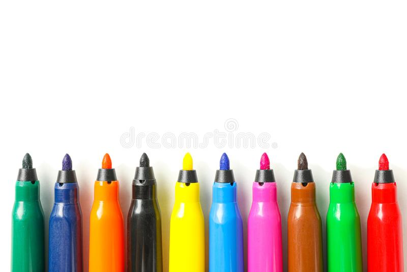 Marcadores da cor isolados no fundo branco imagem de stock royalty free