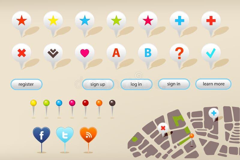 Marcadores da navegação do GPS e elementos do Web site ilustração do vetor
